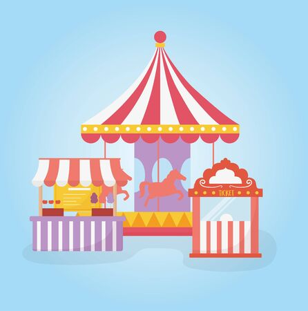 fun fair carnival carousel ticket booth and food stand recreation entertainment vector illustration Stock Vector - 142422776