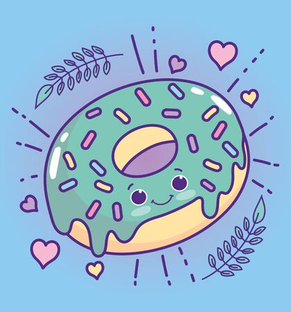 food cute sweet donut with sprinkles heart love cartoon vector illustration