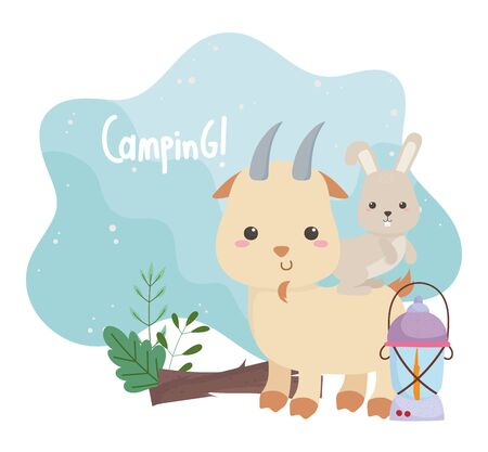 camping cute rabbit in goat lamp and trunk forst cartoon vector illustration 向量圖像