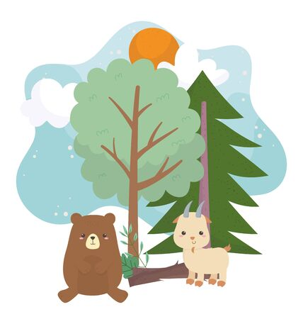camping cute bear and goat trunk trees sun clouds cartoon vector illustration