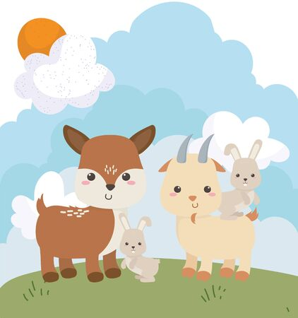 camping cute little bunnies goat and deer grass cartoon vector illustration