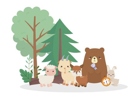 camping cute bear rabbit sheep goat deer with lantern and compass cartoon vector illustration 向量圖像