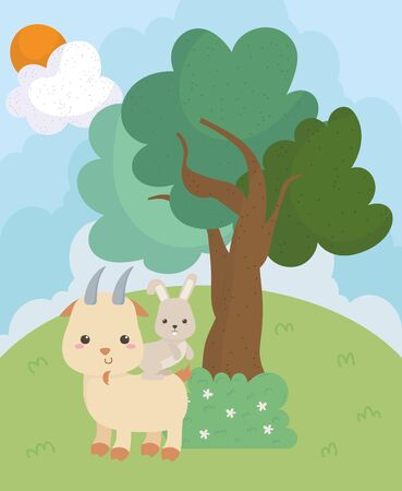 camping cute goat and rabbit bush tree grass sun clouds 向量圖像