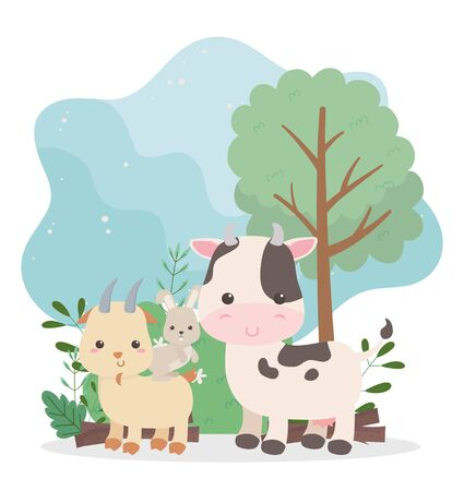 camping cute cow rabbit and goat tree bush nature cartoon vector illustration