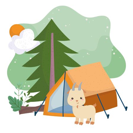 camping cute goat tent pine tree sun cartoon vector illustration 向量圖像
