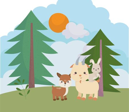 camping cute deer goat and rabbit pine trees meadow sun cartoon vector illustration