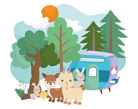 camping cute rabbits goat deer chicken trailer forest cartoon vector illustration