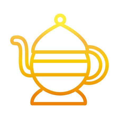 traditional teapot ramadan arabic islamic celebration gradient line icon