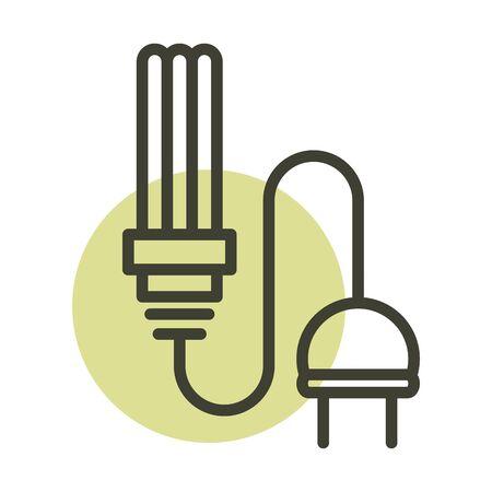 light bulb plug cable alternative sustainable energy vector illustration line style icon