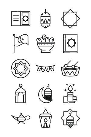 celebration ramadan arabic islamic celebration line style icon Vector Illustratie
