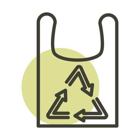plastic shopping bag recycle alternative sustainable energy vector illustration line style icon