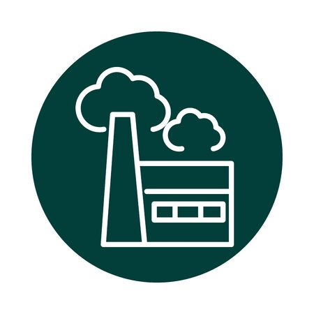 factory pollution alternative sustainable energy vector illustration block line style icon