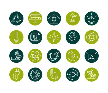 sustainable energy alternative renewable ecology icons set vector illustration block line style icon