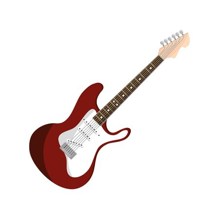 electric guitar string musical instrument isolated icon Vector Illustration