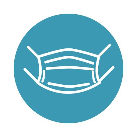 virus covid 19 pandemic medical protective mask block line style icon Ilustración de vector