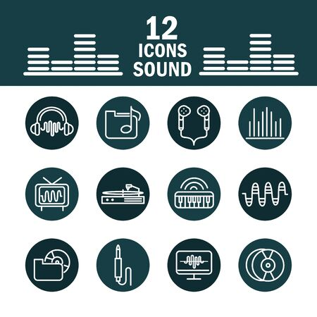 sound audio volume music block style icons set vector illustration Ilustrace