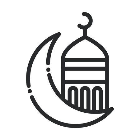 half moon mosque temple ramadan arabic islamic celebration line style icon 向量圖像