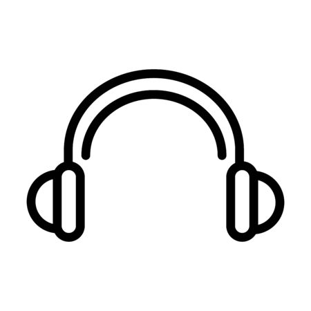 headphones audio sound line style icon vector illustration