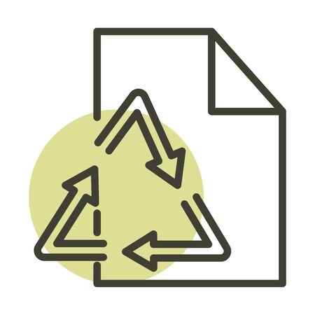 recycle paper ecology alternative sustainable energy vector illustration line style icon Ilustrace