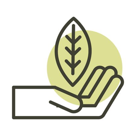 hand with leaf alternative sustainable energy vector illustration line style icon