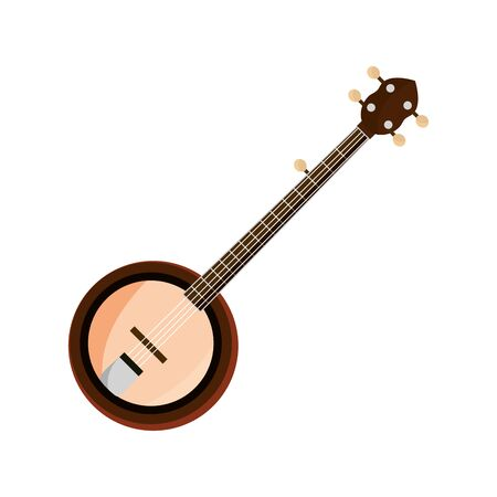 banjo string musical instrument isolated icon Illustration