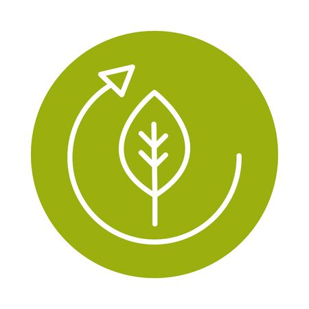 leaf ecology cycle alternative sustainable energy block line style icon