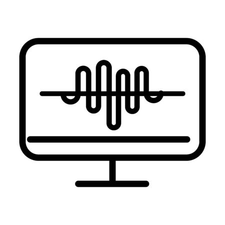 monitor computer equalizer sound line style icon vector illustration