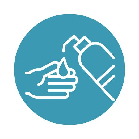 virus covid 19 pandemic cleaning hand liquid soap vector illustration block line style icon Ilustrace