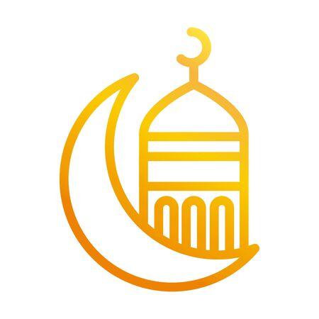 half moon mosque temple ramadan arabic islamic celebration gradient line icon