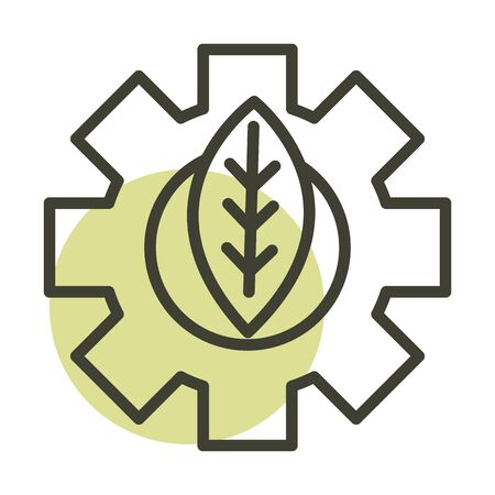 leaf gear alternative sustainable energy vector illustration line style icon