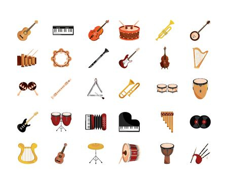 musical instruments string wind percussion icon set vector illustration isolated icon Ilustrace