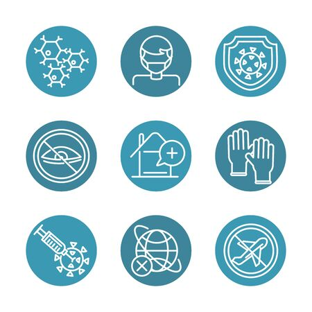 virus covid 19 pandemic respiratory pneumonia disease icons set block line style icon