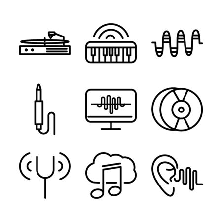 sound audio volume music line style icons set vector illustration 向量圖像