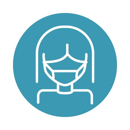 virus covid 19 pandemic woman wearing protective mask vector illustration block line style icon