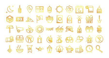 celebration ramadan arabic islamic celebration gradient line icons set vector illustration