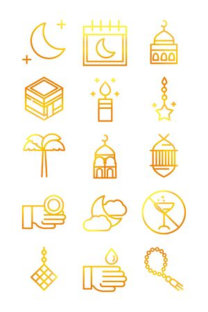 celebration ramadan arabic islamic celebration gradient line icons set