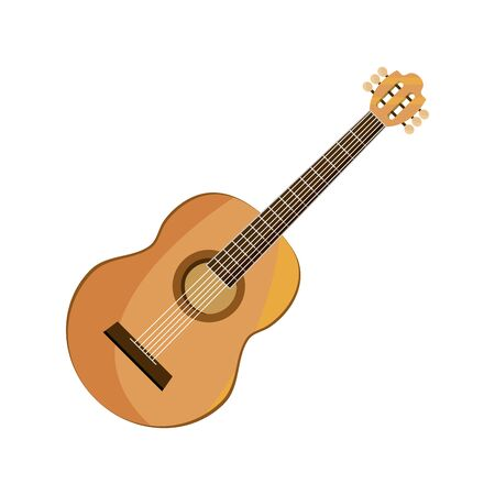 guitar string musical instrument isolated icon Vector Illustration