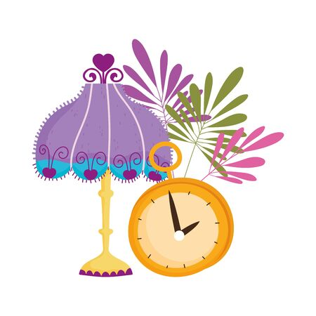 lamp clock time decoration leaves nature