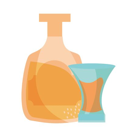 bottle and cup tequila drink Stock Illustratie