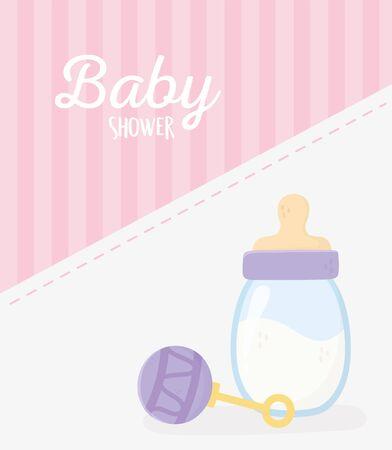baby shower, rattle toy and milk bottle stripes pink celebration card vector illustration