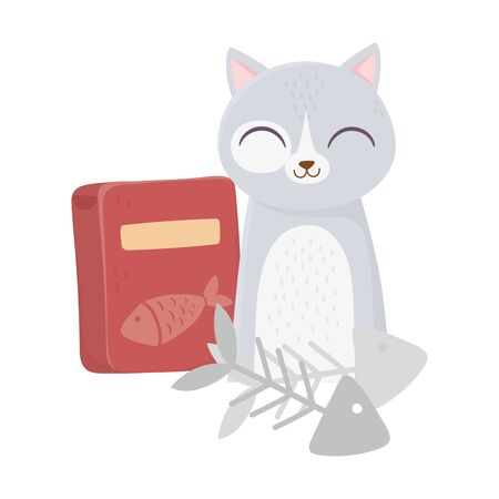 cats make me happy, cute cat with fishbones and food box cartoon Illustration