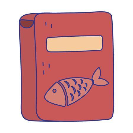 pet cat food box with fish product icon design Archivio Fotografico - 142714576