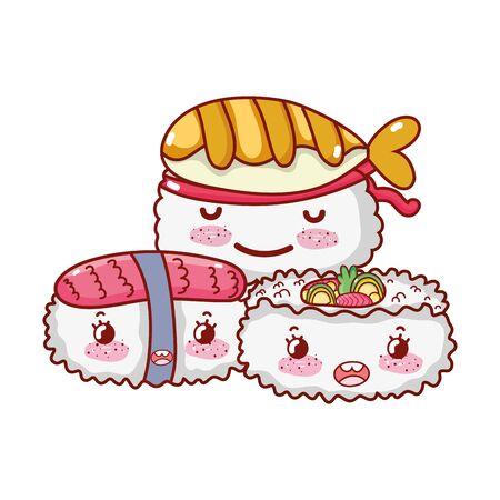 sushi fish rice salmon food japanese cartoon, sushi and rolls