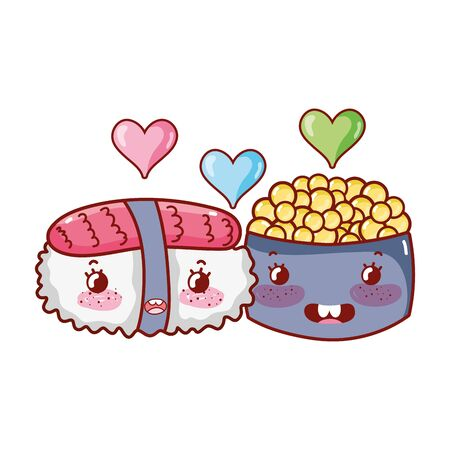 sushi and caviar love food japanese cartoon, sushi and rolls