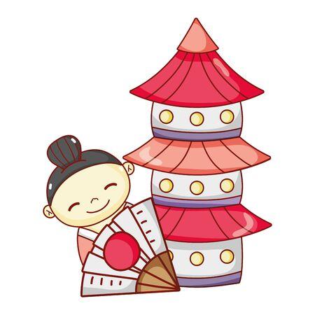 little geisha and pagoda japanese cartoon, sushi and rolls Ilustracja