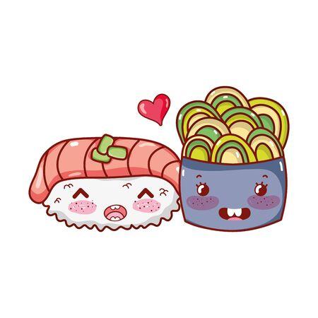 sushi salmon wasabi and salad food japanese cartoon, sushi and rolls