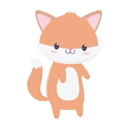 cute fox animal cartoon isolated icon vector illustration