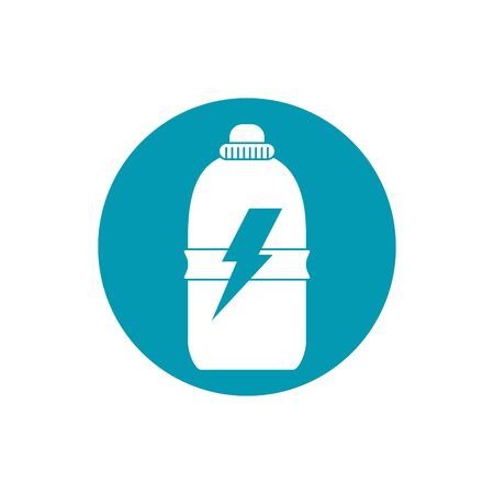 drinks energy plastic bottle power sport blue block style icon Illustration