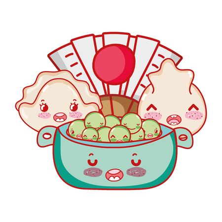kawaii dumplings peas in bowl and fan food japanese cartoon vector illustration sushi and rolls Archivio Fotografico - 142685613