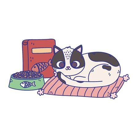 cats make me happy, cat with bowl food and box in carpet cartoon